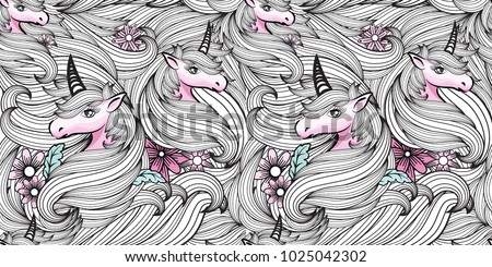 hand drawn fantasy unicorn and