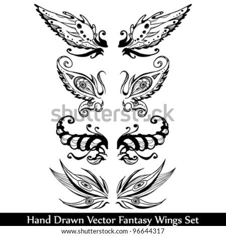 Hand Drawn Fantasy Wings Set
