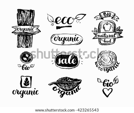 Hand drawn farm fresh logo set label collection of organic eco company vegetarianets