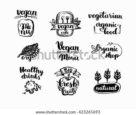 hand drawn farm fresh logo set