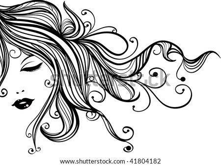 Hand-drawn fashion female portrait, woman with long flowing hair - stock vector