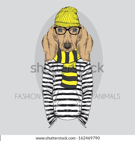 Hand Drawn Fashion Illustration of Doggy Hipster in colors