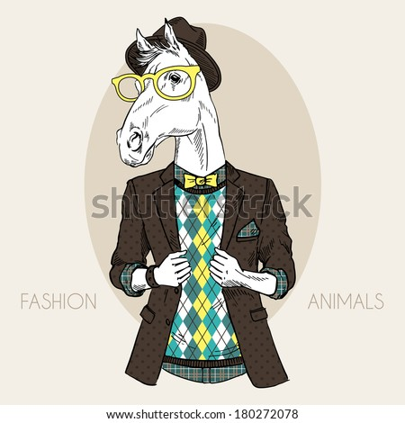 Hand drawn fashion illustration of horse hipster in colors