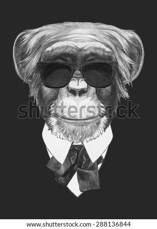 Hand drawn fashion Illustration of Monkey. Vector isolated elements.