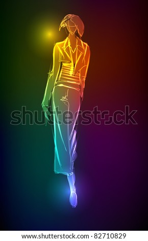 Hand-drawn fashion model from a neon. Vector illustration. A light girl's