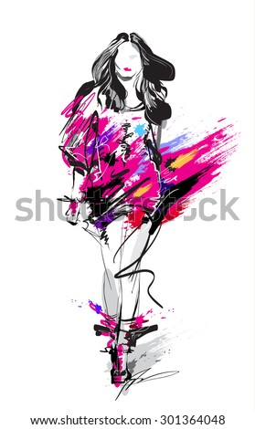 hand drawn fashion model woman