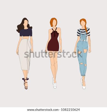 hand drawn fashion models