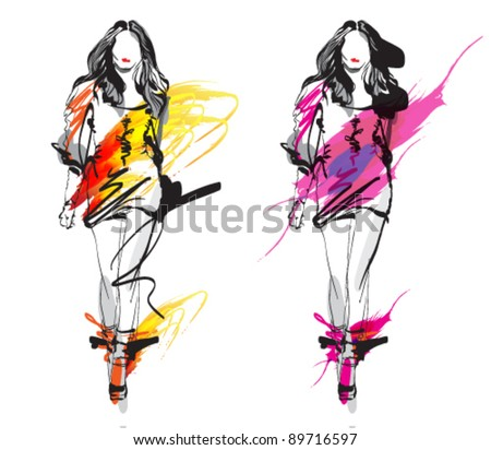 Hand-drawn fashion models. Woman. Sketch.