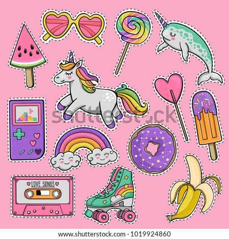 Hand drawn fashion patch badges with heart sunglasses, unicorn, lollipop, cassette tape, popsicle, banana, roller skates, skateboard, cartoon narwhal, donut, vintage game console in 80s-90s style