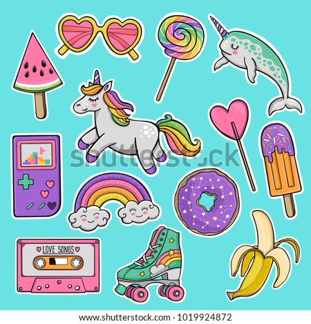 Hand drawn fashion patch badges with unicorn, narwhal, watermelon, sunglasses, donut, banana, cassette tape, roller skates, retro game console, skateboard, rainbow, lollipop, popsicle in 80s-90s style