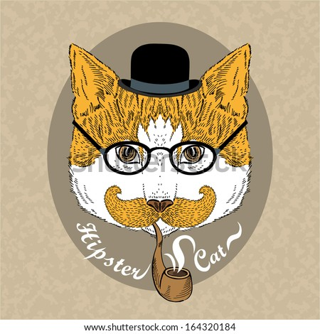 Hand Drawn Fashion Portrait of Hipster Cat in bowler hat with tobacco tube
