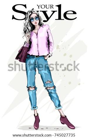 Hand drawn fashion woman in sunglasses. Full body woman portrait. Stylish beautiful model posing. Fashion girl. Sketch. Vector illustration.