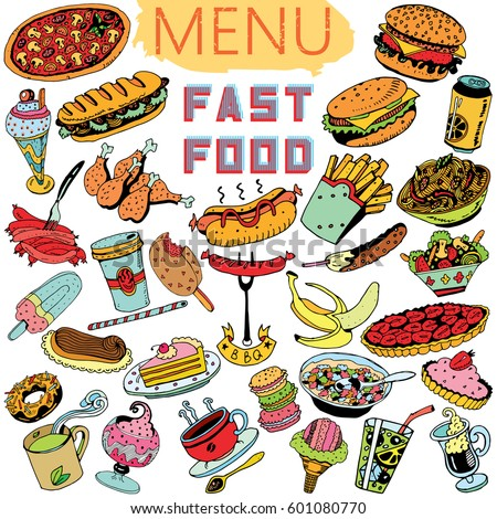 hand drawn fast food