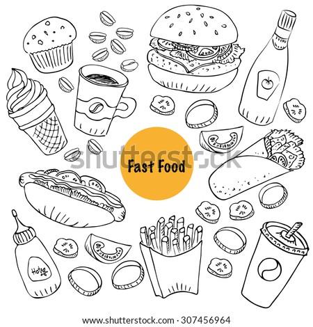 hand drawn fast food doodle set