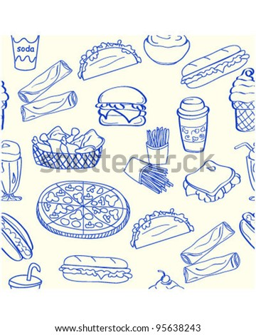 Hand Drawn Fast Food Icons         vector eps10