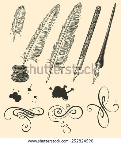 Hand drawn feathers and curls isolated on color background .8 EPS