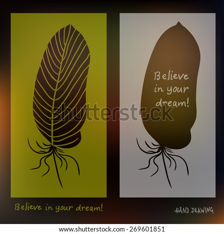 Hand drawn feathers and text card on blurred background. Vector illustration. Best for invitations, postcards, textiles