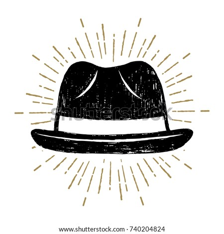 Hand drawn fedora hat textured vector illustration.
