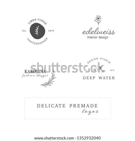 Hand Drawn Feminine Delicate Logo. Premade Logo Template for photographer, fashion blogger, design studio, interior design. Branding identity collection. Floral feminine logo