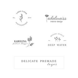 Hand Drawn Feminine Logo. Modern Logo Template for Florist, Photographer, Fashion Blogger, Boutique, Interior Design. Luxury Branding Identity Collection. Floral minimal logo