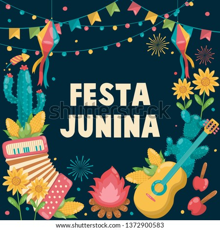 Hand drawn Festa Junina Brazil June Festival. Folklore Holiday. Guitar, Accordion, Cactus, Summer, Sunflower, Campfire, Flag, - Ready to Print - Background - Vector Illustration - Vector