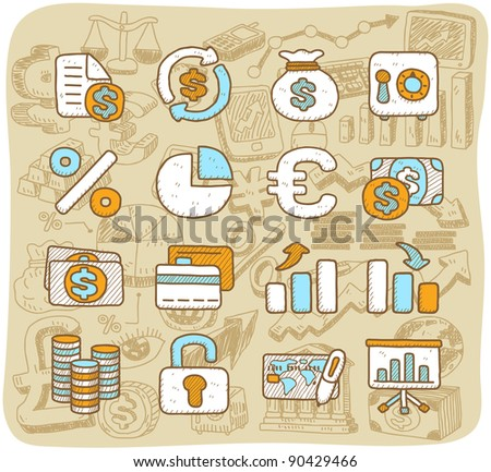 Hand drawn finance, banking,business,office icons set