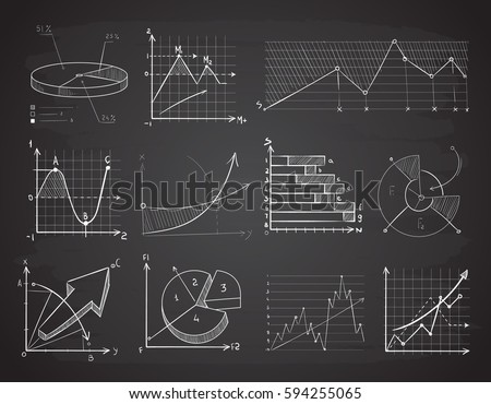 Hand drawn finance business charts, diagrams, pie graph doodle vector elements