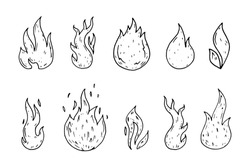 Hand Drawn fire icons doodles set. Sketch style icons. Decoration element. Isolated on white background. Flat design. Vector illustration.