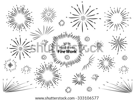 hand drawn fire work element design