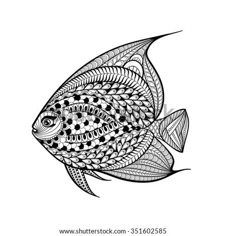 hand drawn fish in zentangle