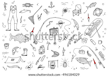 Shutterstock Hand drawn fishing set.Fishing stuff in doodle style. Vector illustration.