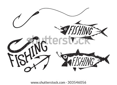 hand drawn fishing symbols