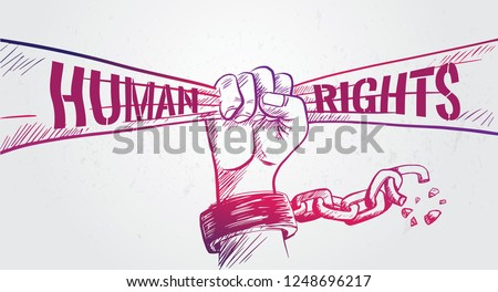 Hand drawn fist raise up holding ribbon,breaking chain,International  Human Rights Day poster grunge texture, vector Illustration