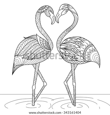 hand drawn flamingo couple