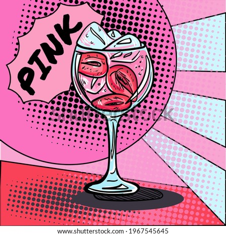 Hand-drawn flat illustration in pop art style with a gin cocktail and sign Pink. Vector illustration. Foto stock ©