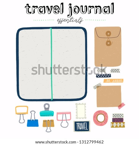 Hand drawn flat style travel journal essentials. Art journaling tool set - sketchbook in cover with stickers, metal clips and washi tapes. Flat lay vector illustration for store, site, shop.