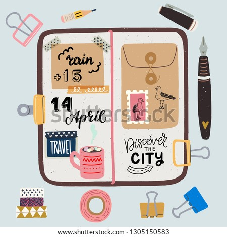 Hand drawn flat style travel journaling layout. Art journal essentials - sketchbook in cover with stickers, metal clips, pen, pencil, washi tapes and fountain pen. Flat lay vector illustration.