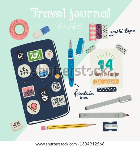 Hand drawn flat style travel journaling toolkit. Art journal essentials - sketchbook in cover with stickers, pen, pencil, eraser, sharper, washi tapes, marker, fountain pen. Vector illustration.
