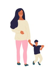 Hand drawn flat style vector illustration. Pregnant woman is walking with a little boy or her son. Many children, sibling concept. Expecting of a child.