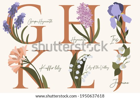 hand drawn floral alphabet with