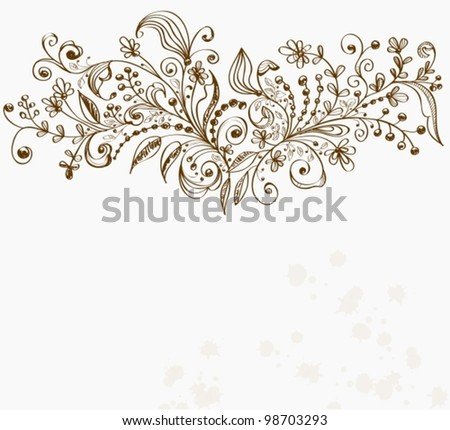 Hand Drawn floral background, beautiful vector illustration