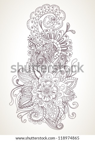 hand drawn floral background, illustration, vector