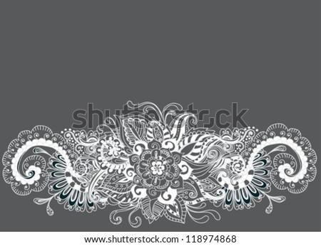 hand drawn floral background, illustration, vector