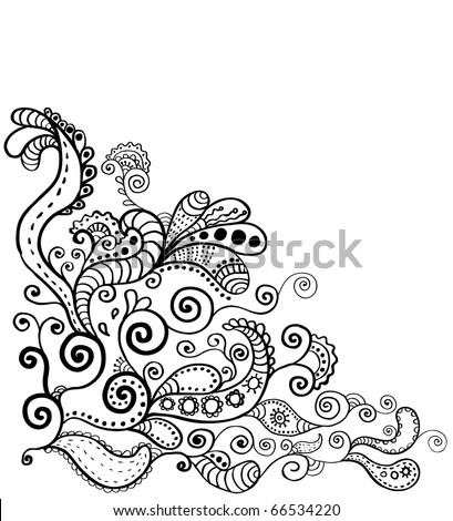 hand-drawn floral corner design element