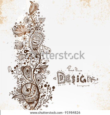 Hand Drawn floral detailed background, retro flowers