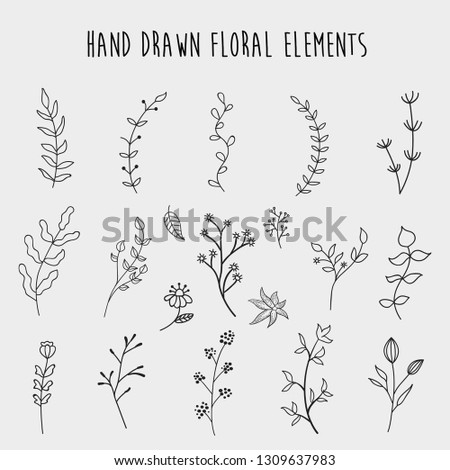 Hand Drawn Floral Element Vector #1309637983
