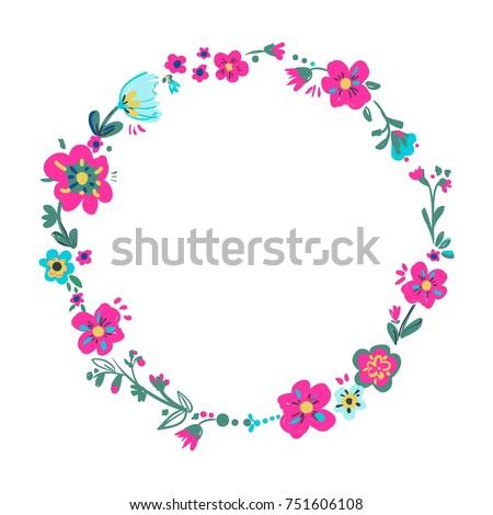 Hand drawn floral frame, flowers vector illustration #751606108