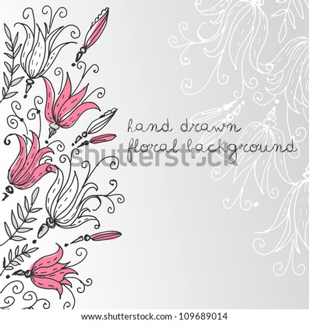 Hand drawn Floral greeting card
