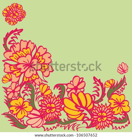 Hand drawn floral ornament with pink contours, red and yellow flowers over green background