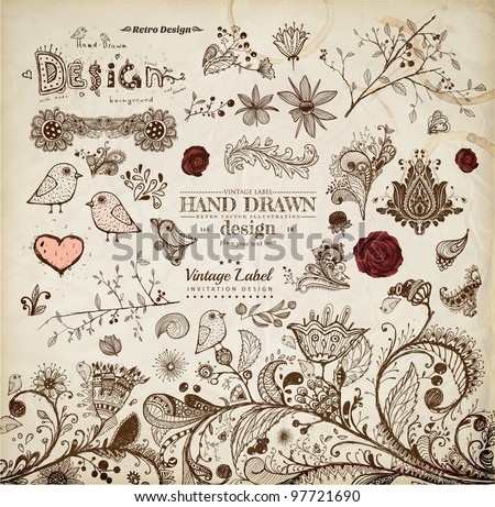 Hand Drawn floral ornaments with flowers and birds | Love elements | Engraving tree and flowers for spring and summer design | Vintage Labels - stock vector